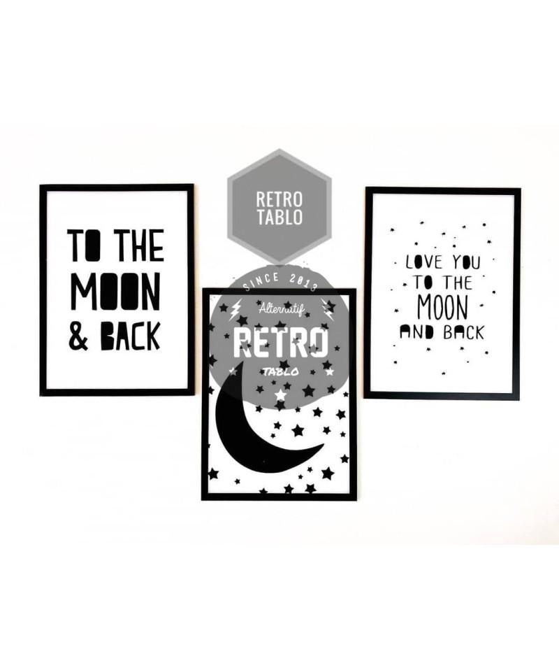 MOON - Üçlü Ahşap Retro Tablo Set - Ahşap Retro Tablo